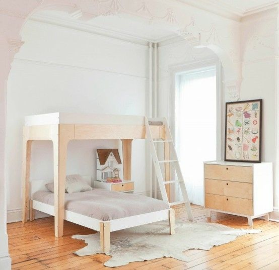 Bright white shared kids bedroom with simple bunkbeds