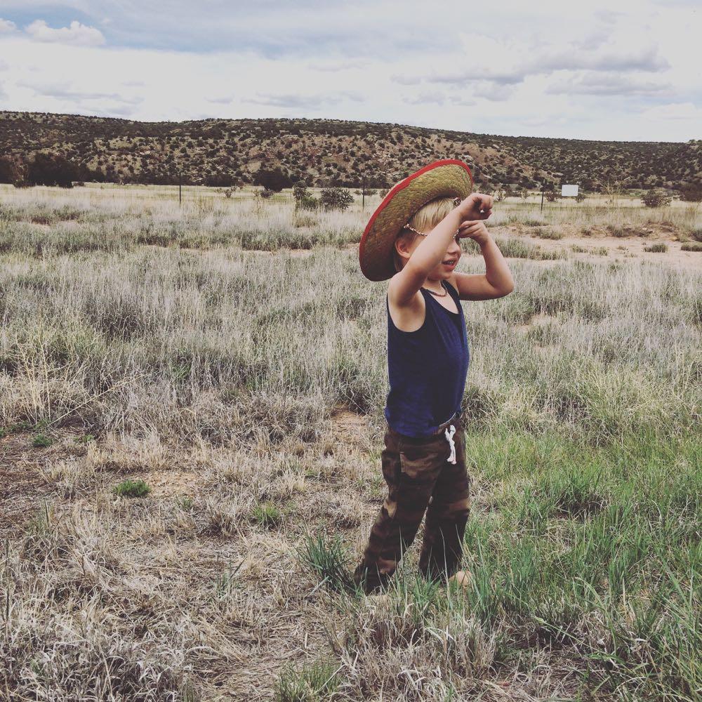 Little boy on a road trip