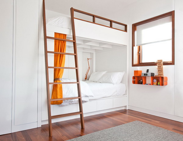 clean, white, modern shared kids room with bunkbeds
