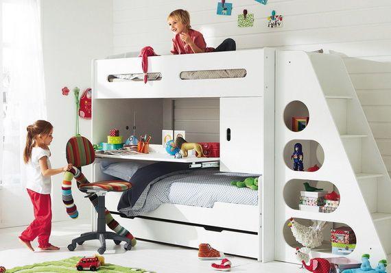 Cool kids' bunkbed setup with desk