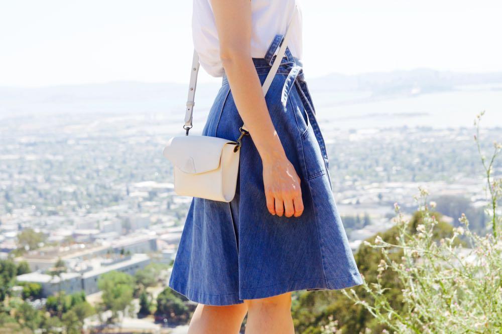 High waisted denim skirt with a tie waist