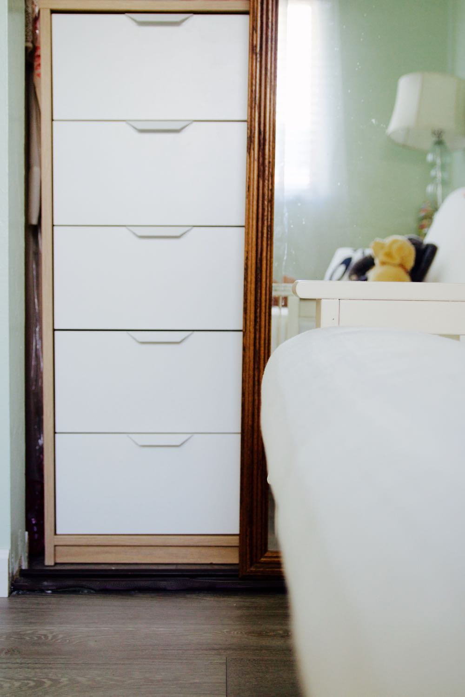 Tall narrow white Ikea dresser