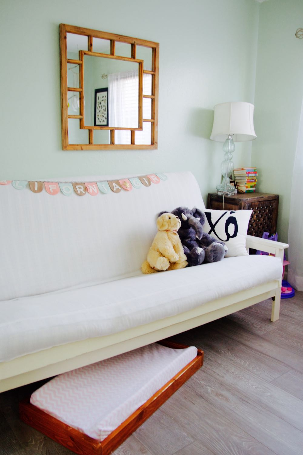 White and mint green little girl's room