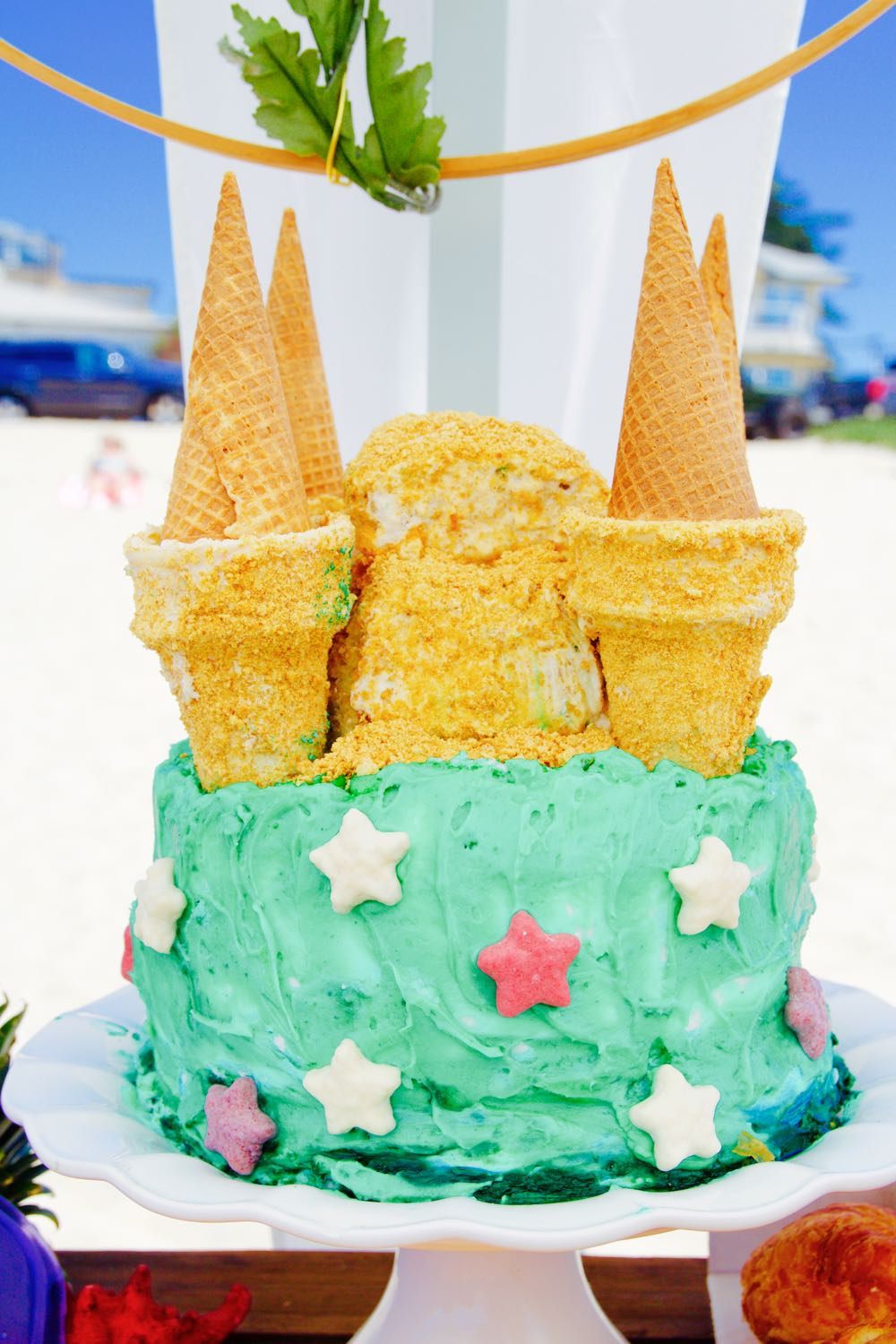 how to make a sandcastle birthday cake