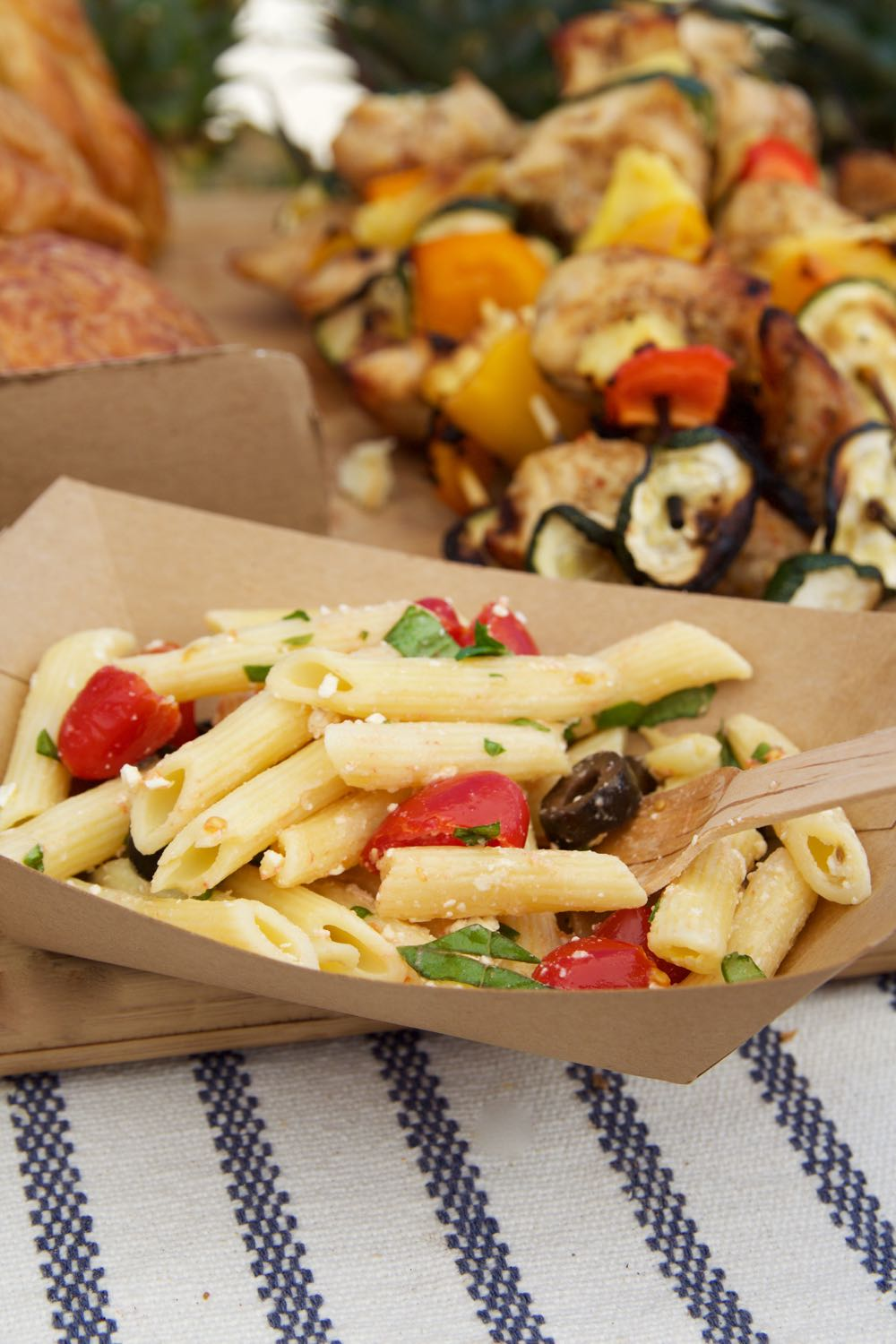 Cold Pasta Salad with Tomatoes, Feta, and Black Olives
