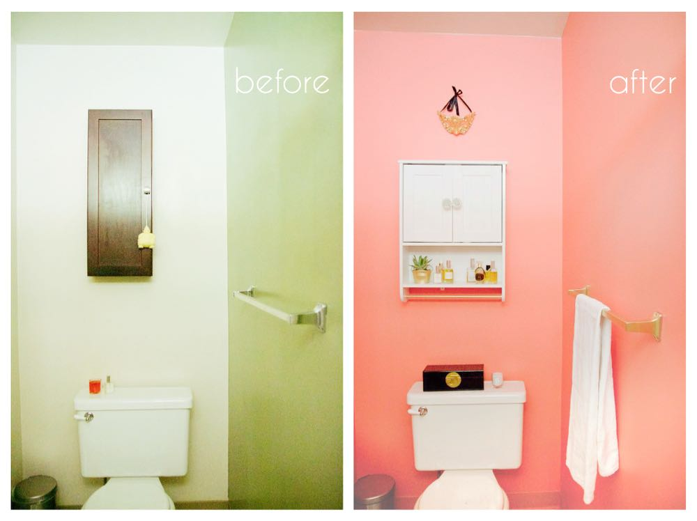 transform a small bathroom using a single bright color