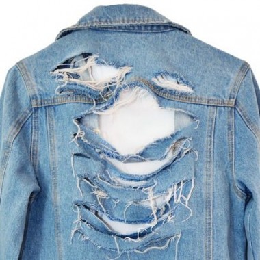 how to make your own shredded distressed denim jacket
