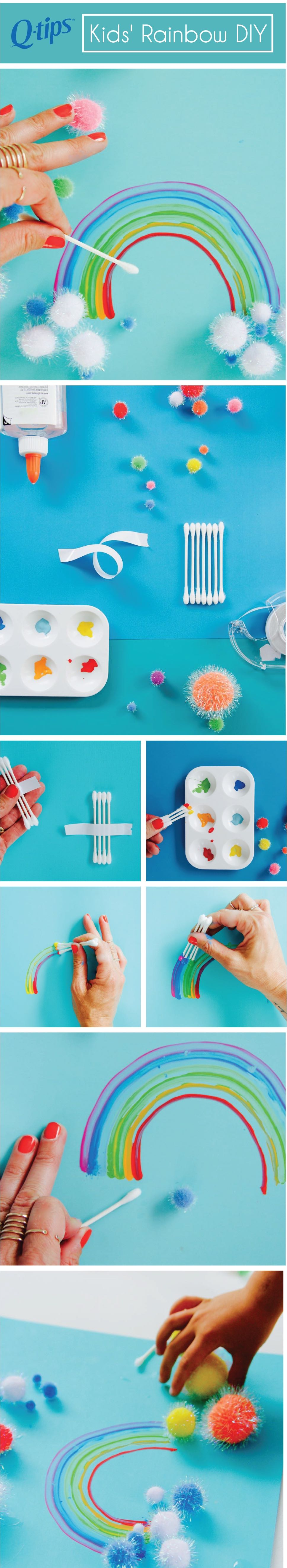 pinterest how to paint a rainbow with q tips