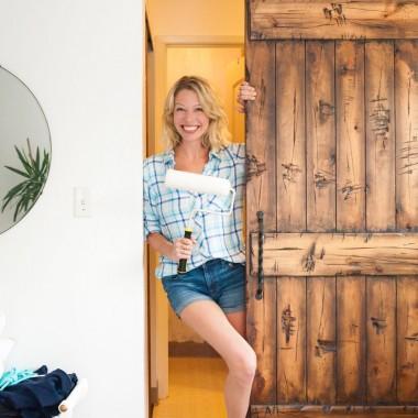rustic sliding barn door for a bathroom