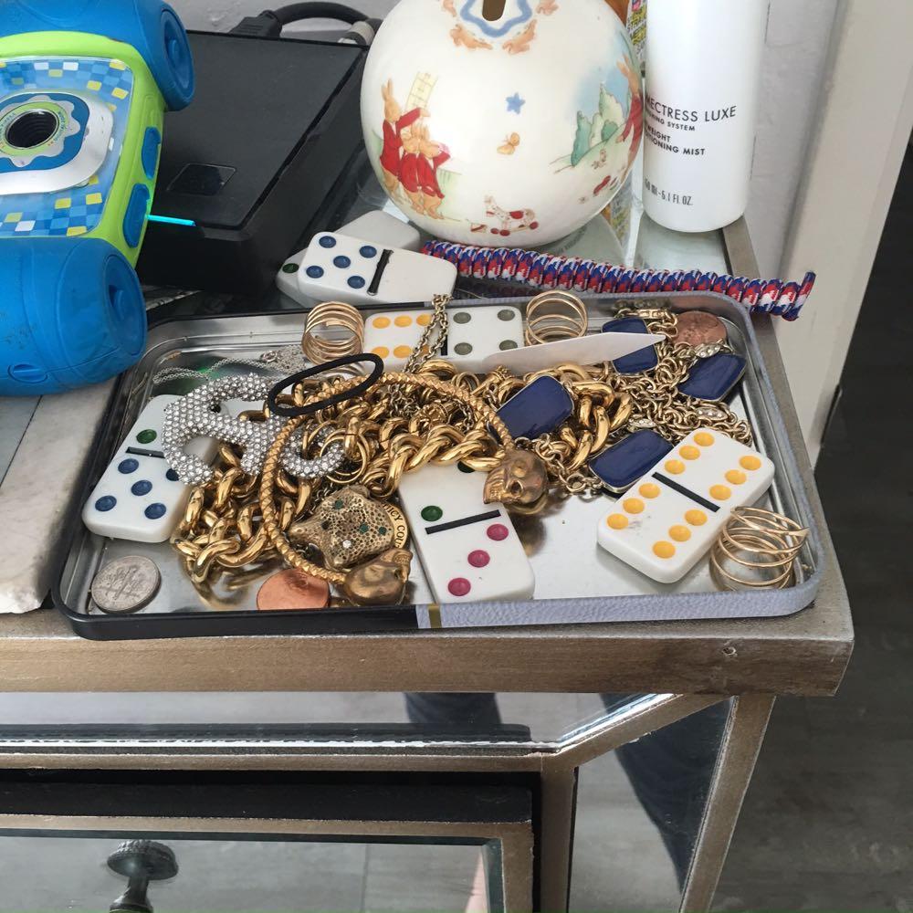 cluttered vanity top