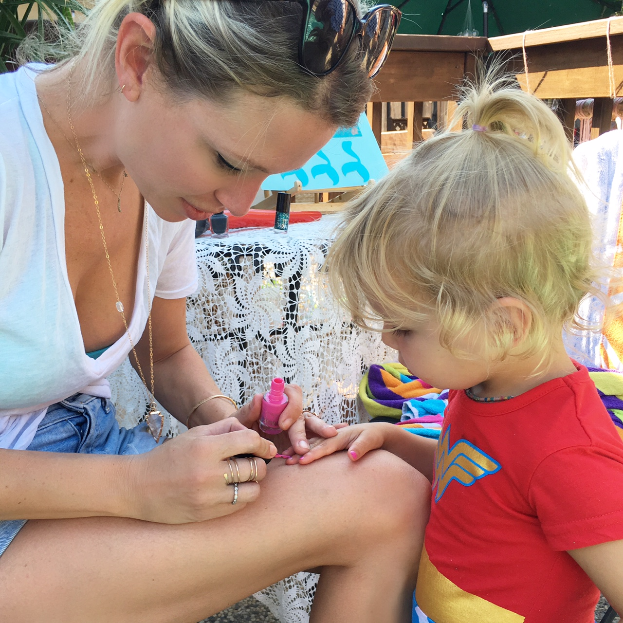 painting little girl's nails