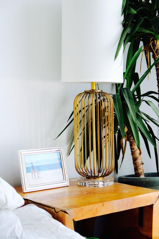 Bedside table with Lulu & Georgia midcentury lamp