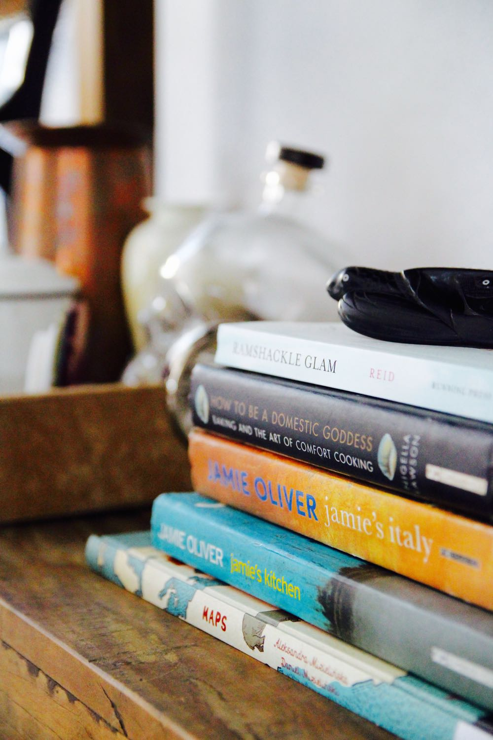 Stacking cookbooks on a dining room console