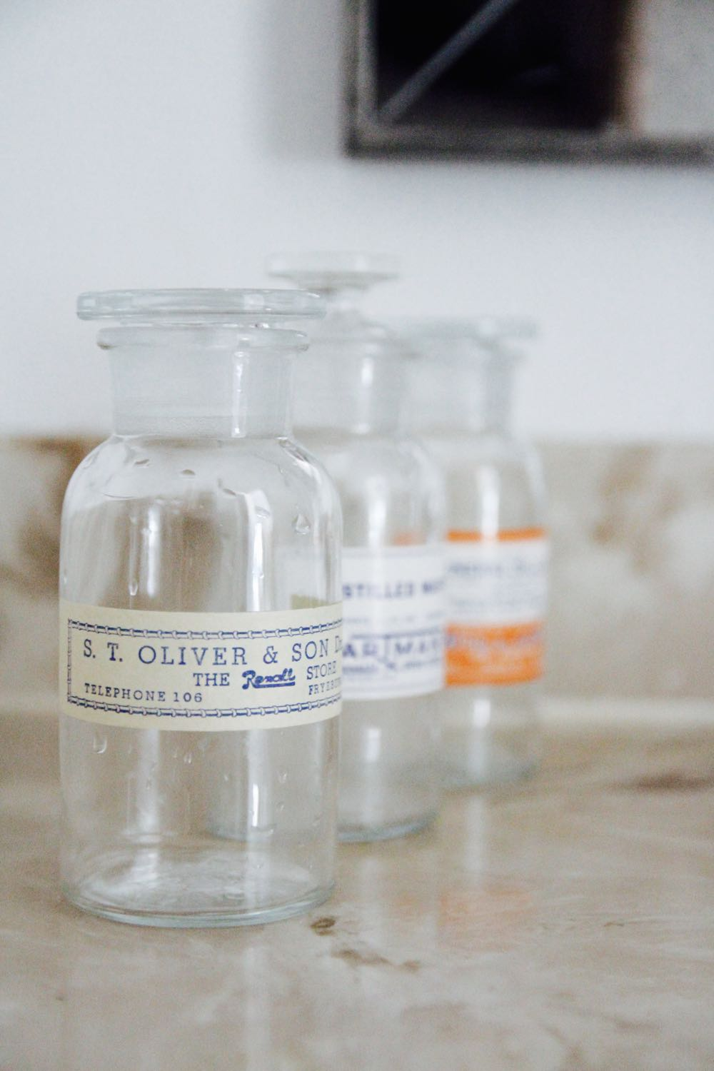 how to decorate with vintage apothecary jars