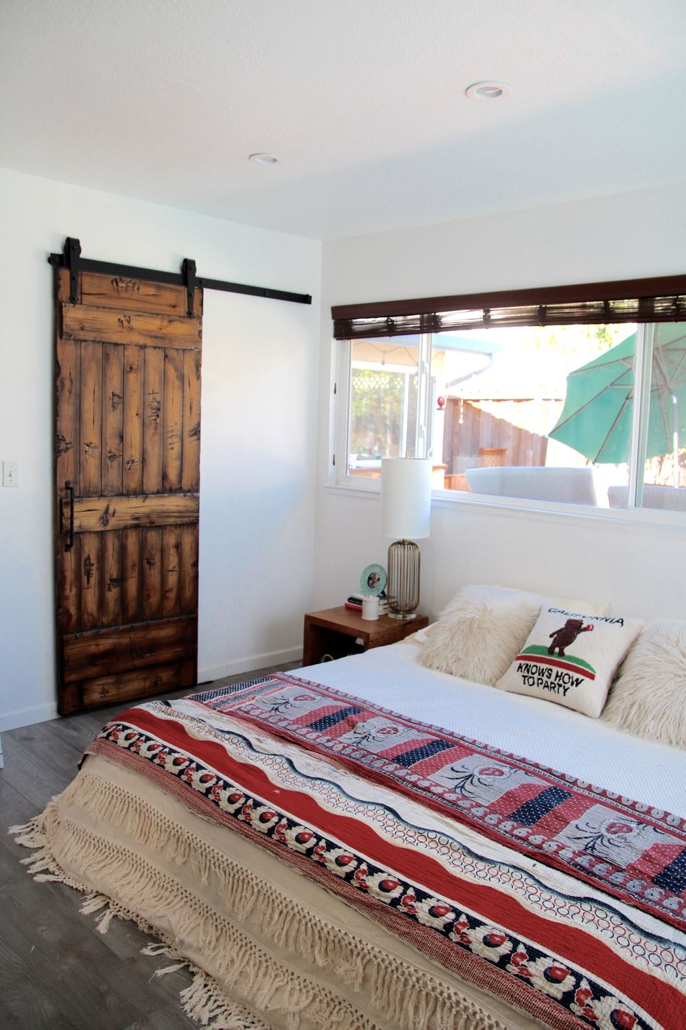 Vintage kantha throw used as a bedspread