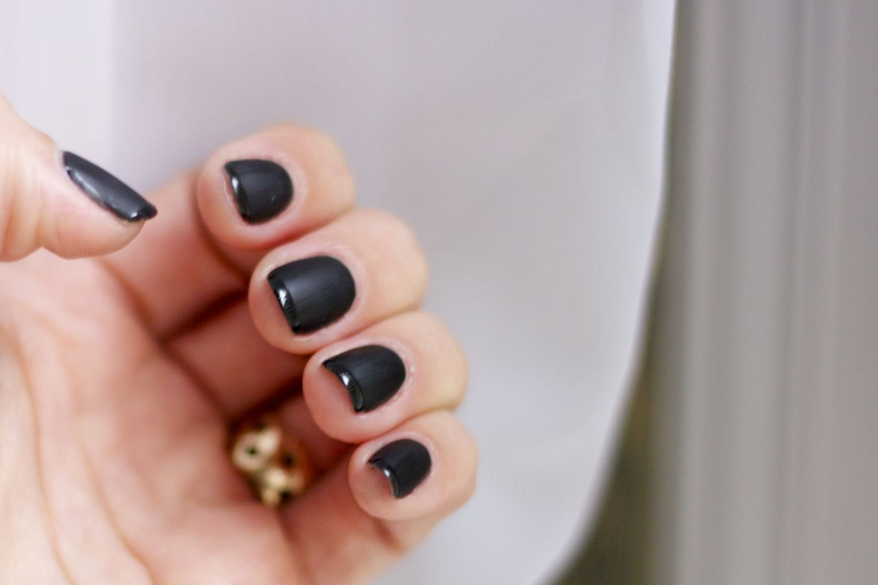 Gorgeous Matte Black French Manicure For Halloween