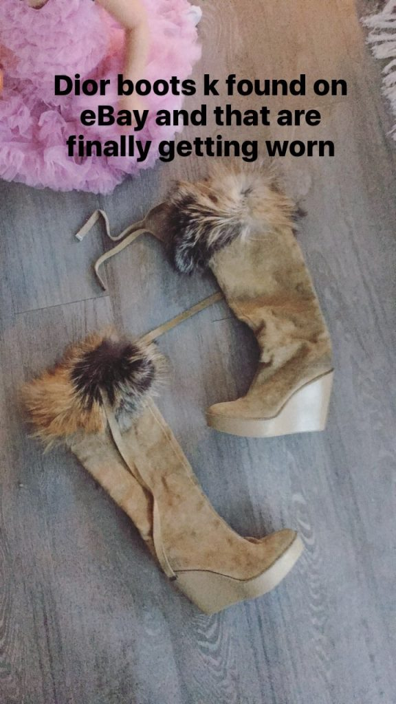 suede and fur wedge dior boots from ebay