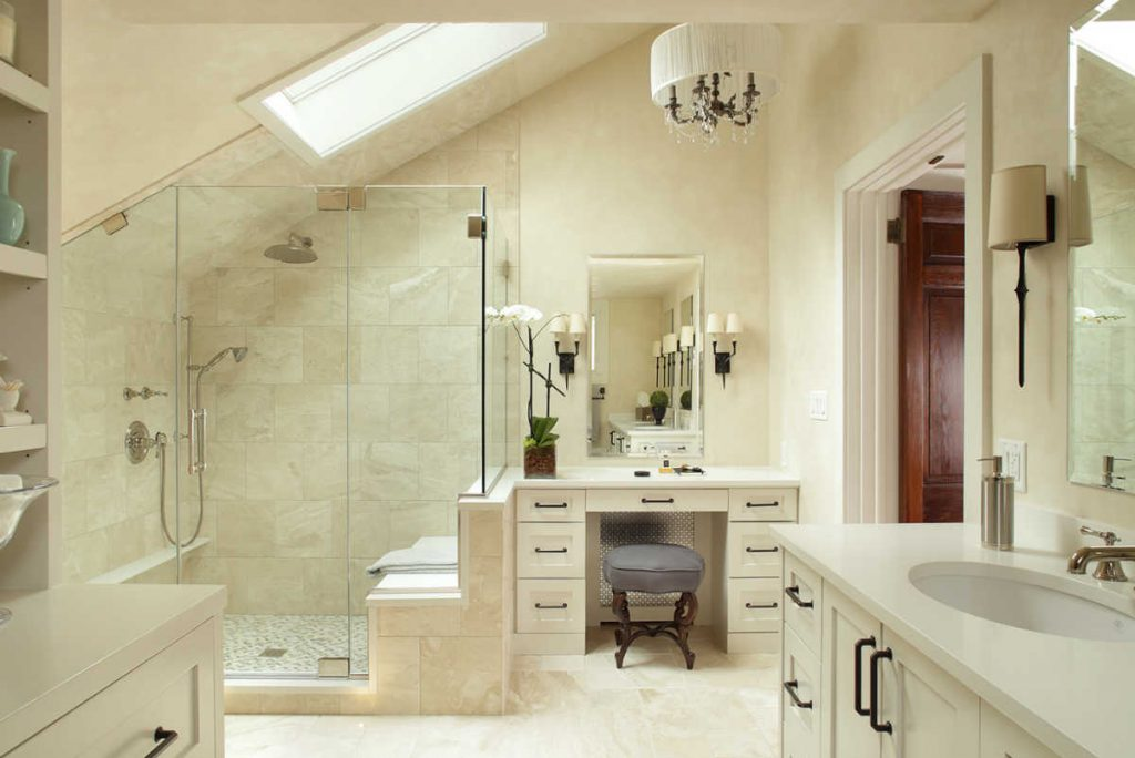 bright modern bathroom with white tiling
