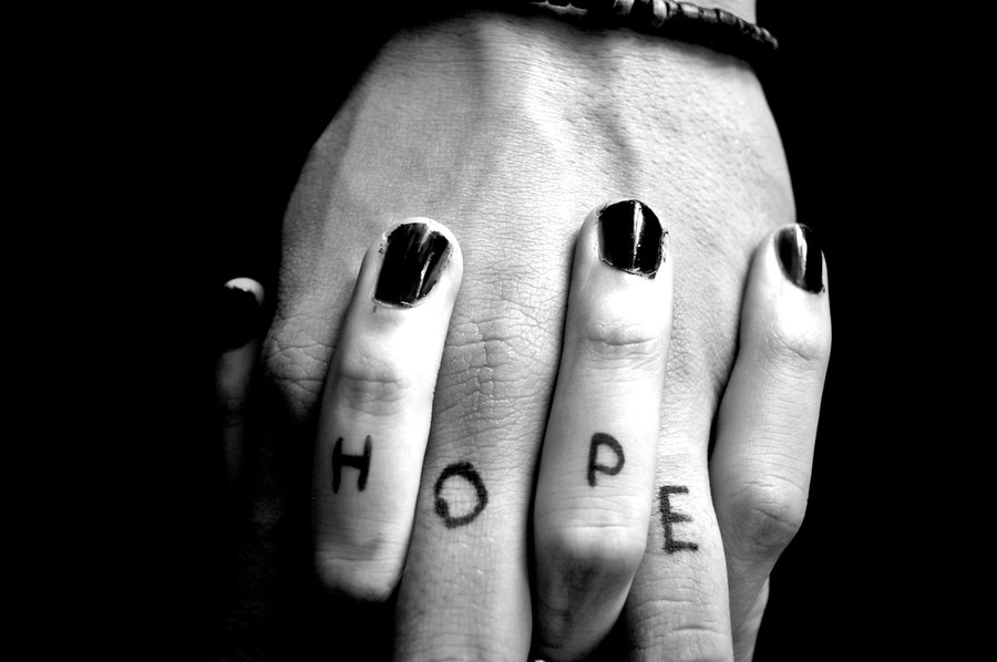 hope tattoo on hands