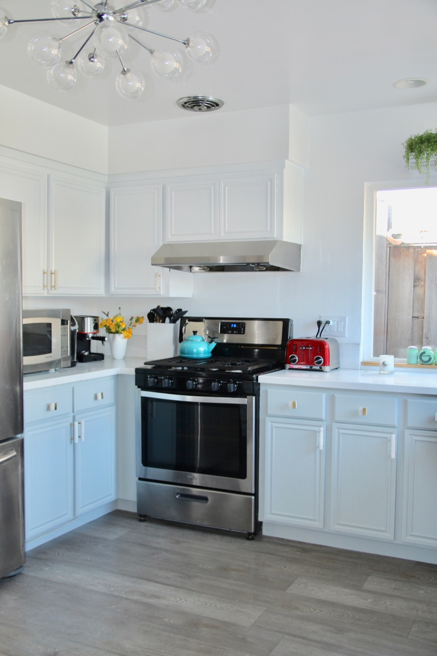 how to inexpensively update dark wood cabinets