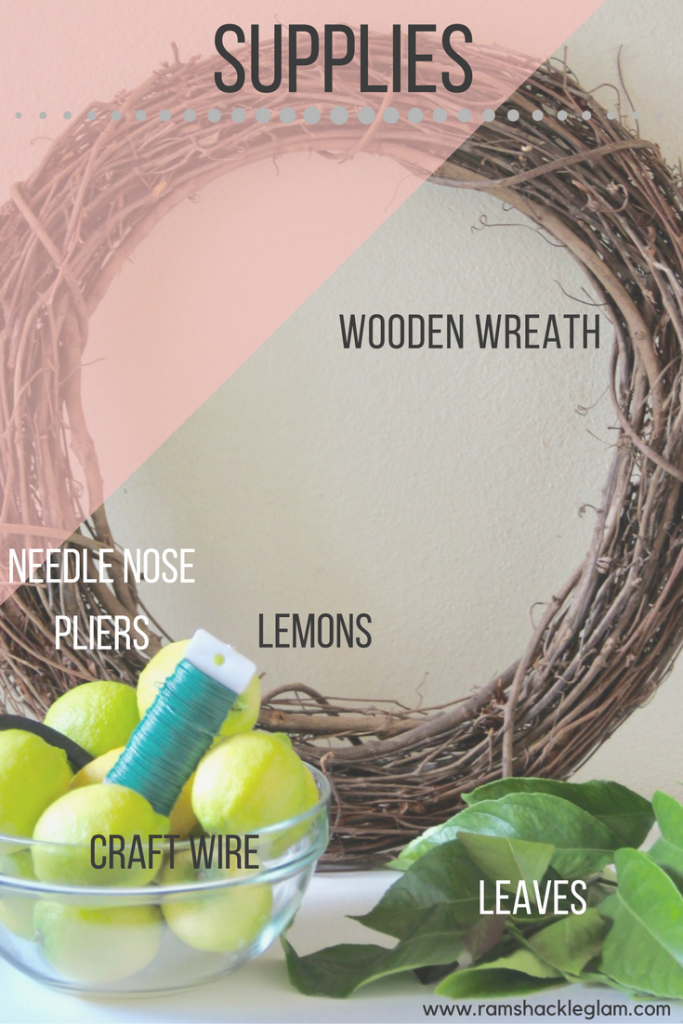 what you need to make a lemon and leaf wreath for spring