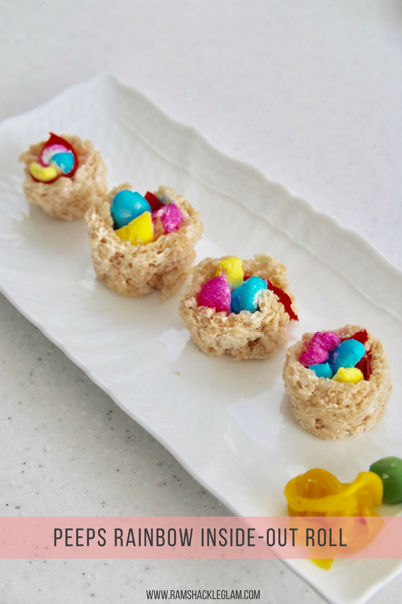 how to make peep sushi or peepshi with Rice Krispies treats