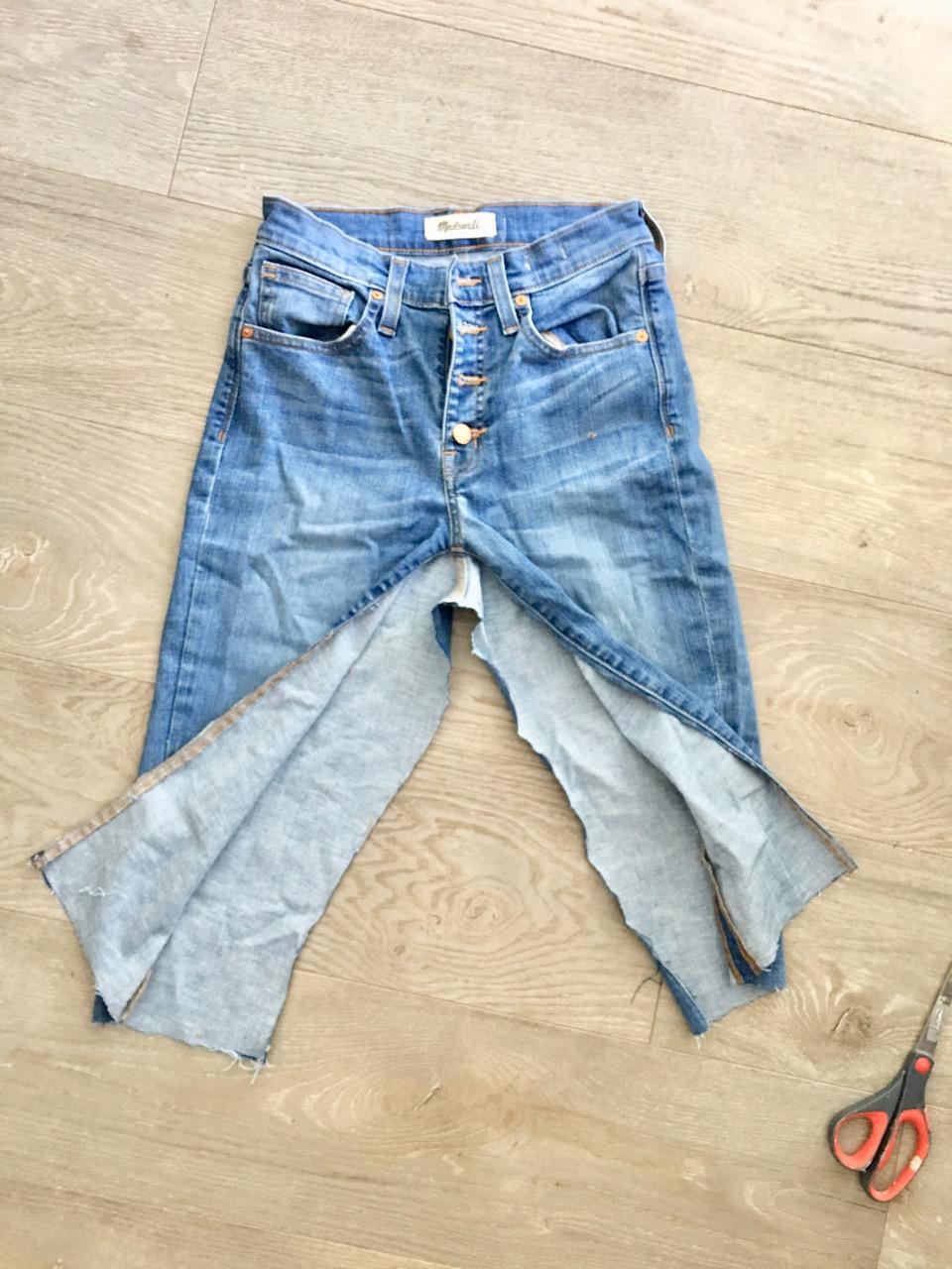 how to make a diy denim mini midi or maxi skirt like Kendall jenner's