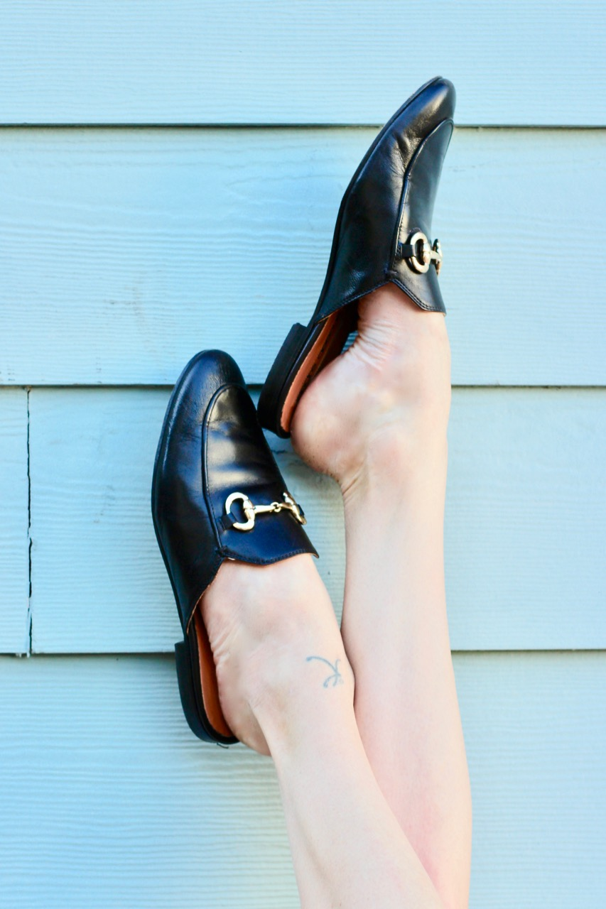 how to style black slide loafers Gucci