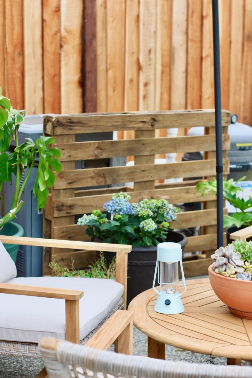 Light grey deck backyard makeover on a budget