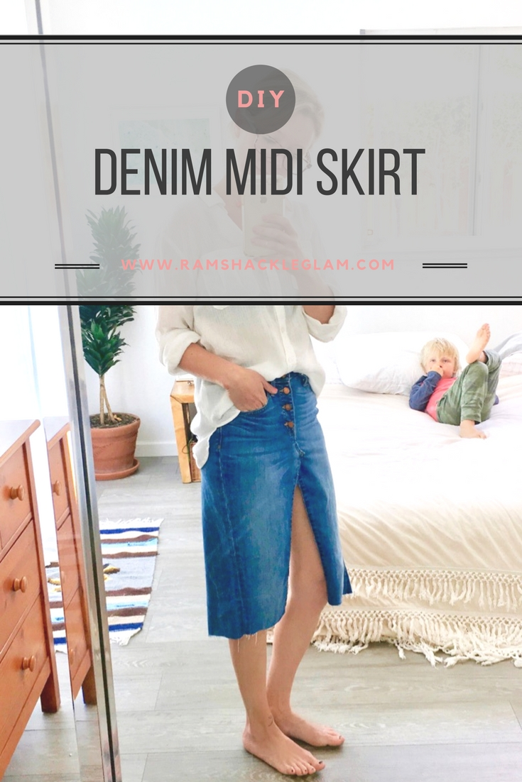 19ece9b899 Tutorial: DIY Kendall Jenner's re/done Reconstructed Denim Midi or ...