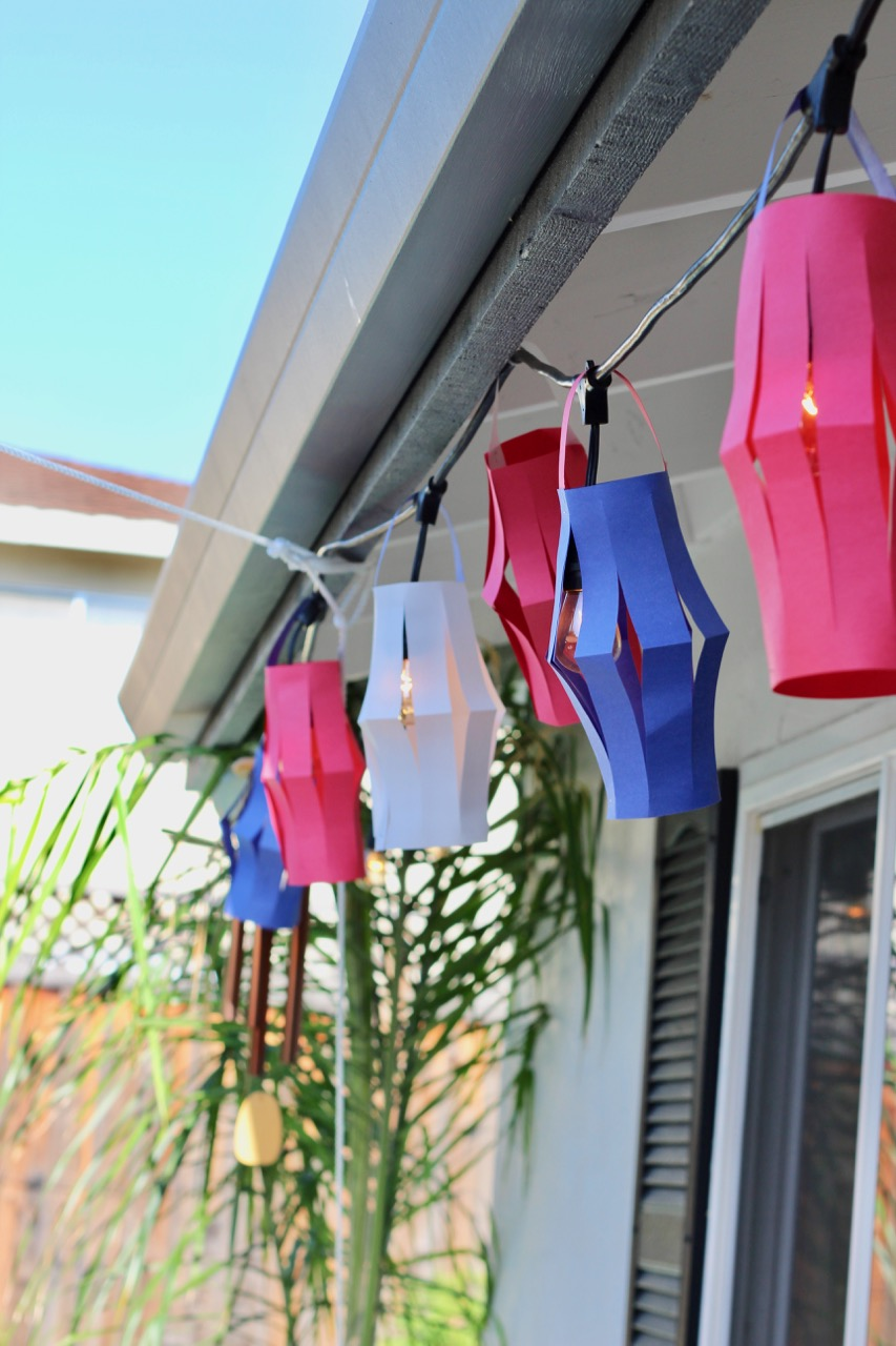how to make paper hanging lanterns for fourth of July