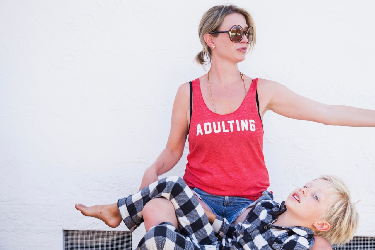 adulting tank top from glam camp