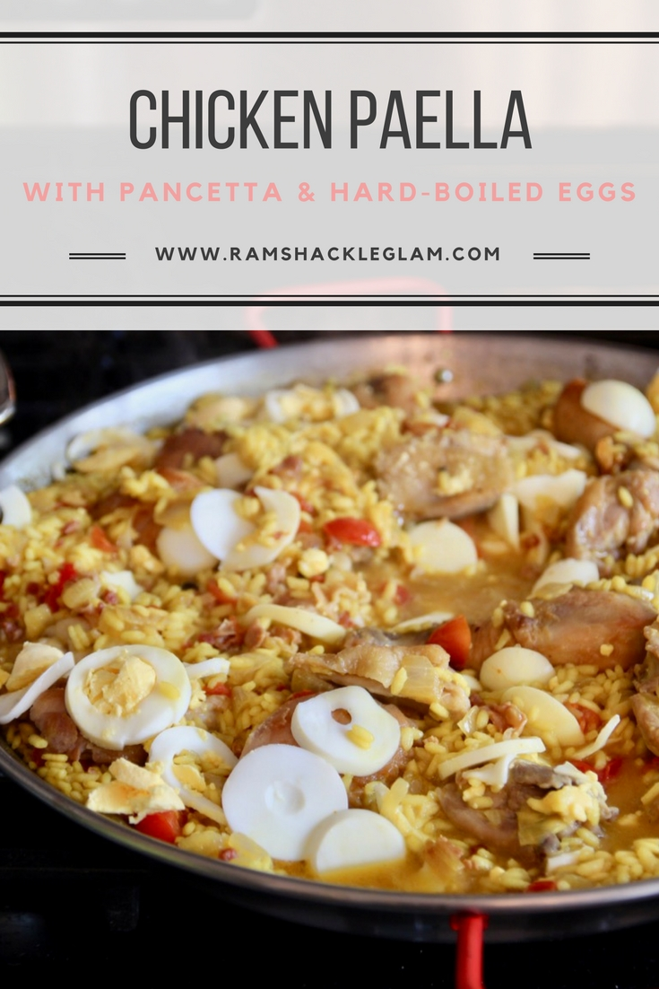 chicken paella with pancetta and hard boiled eggs