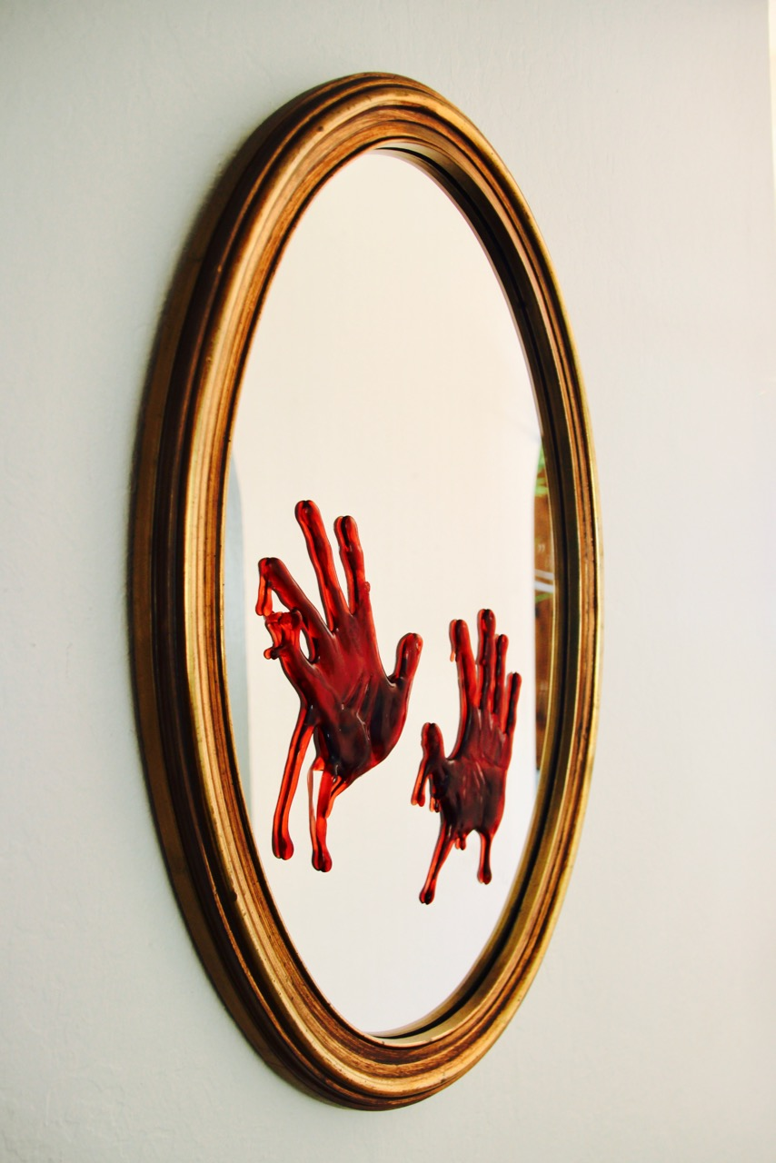 easy halloween party decor ideas bloody hands