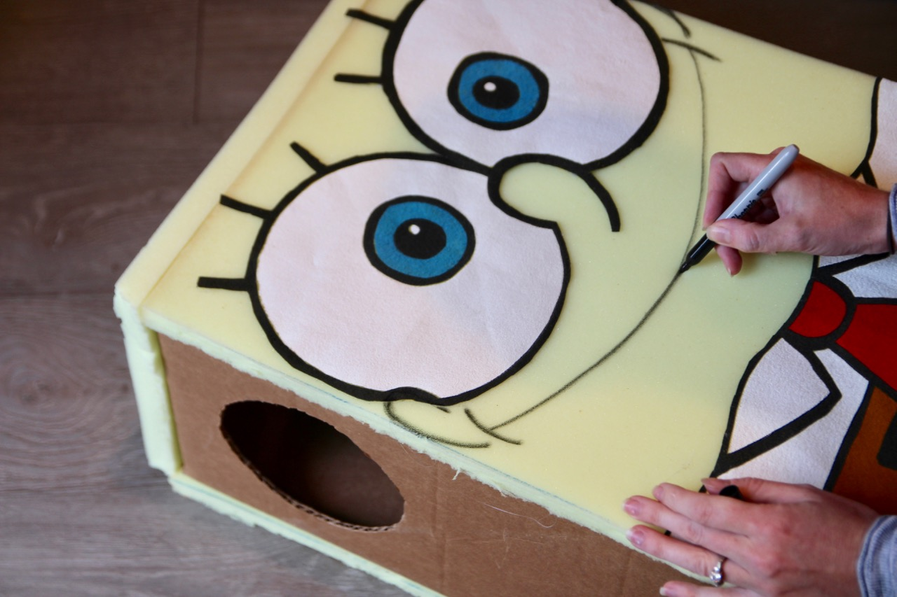 spongebob squarepants costume made with a box and foam