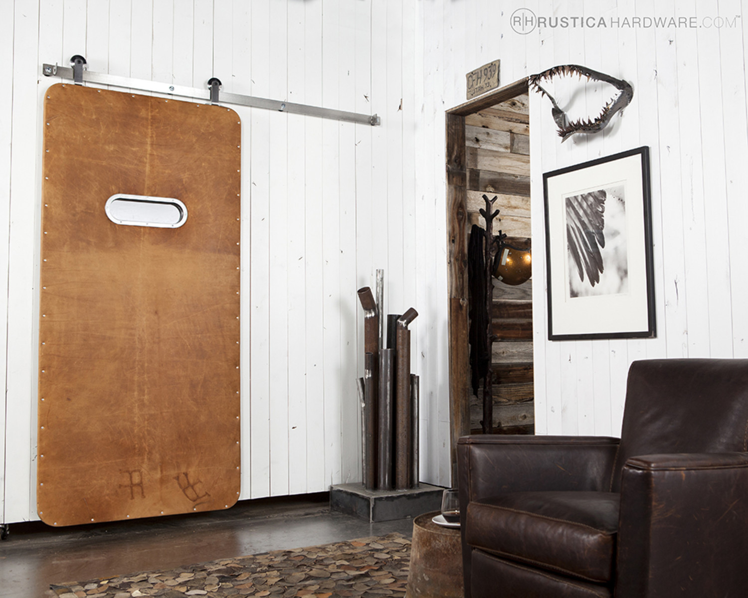leather sliding barn door from rustica hardware