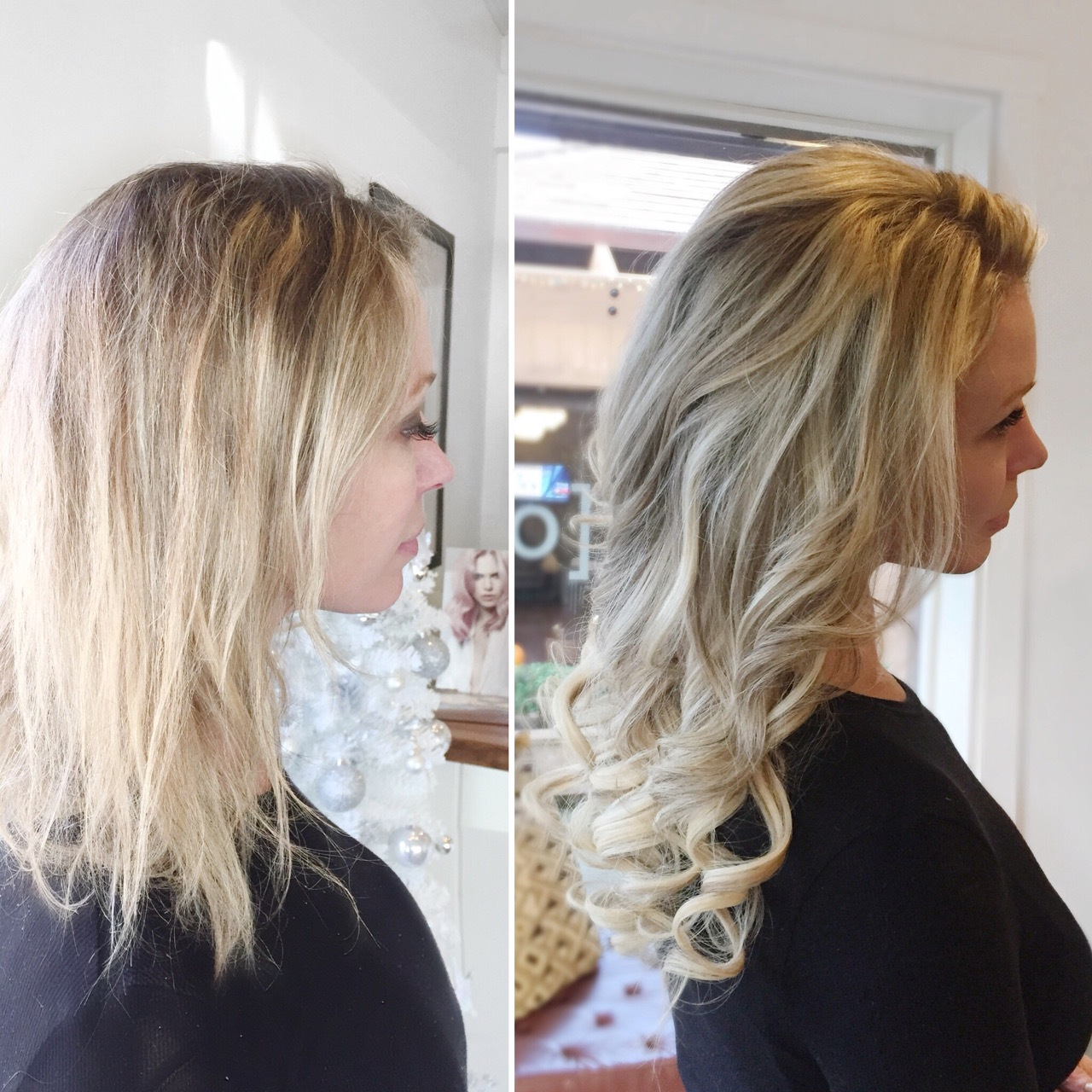 before and after hair extension updo