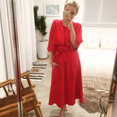 red rent the runway wrap dress from tome