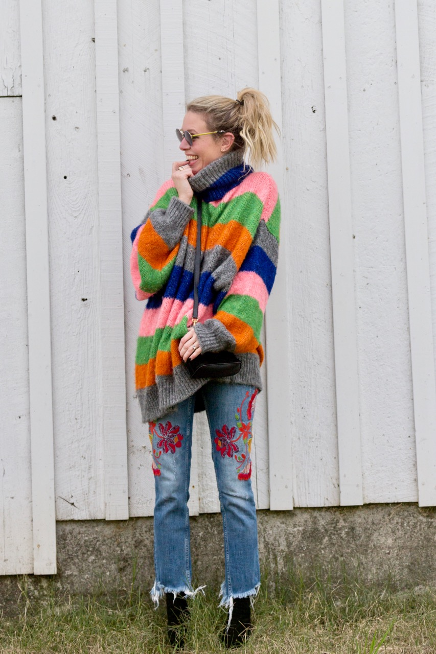 oversized multicolored striped knit sweater from Zara