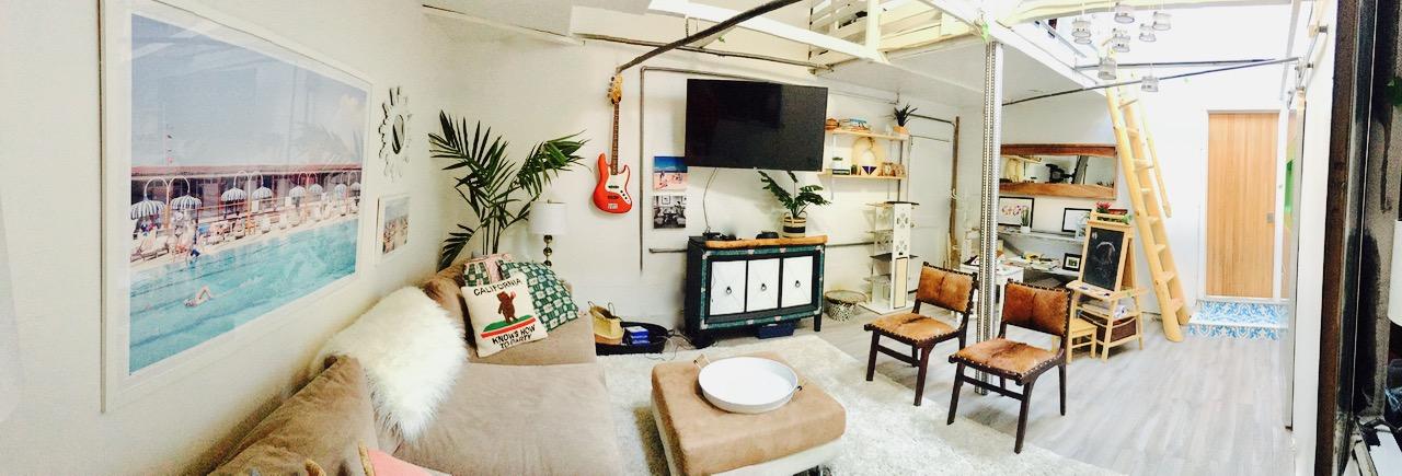 panorama of garage renovation into rec room and studio
