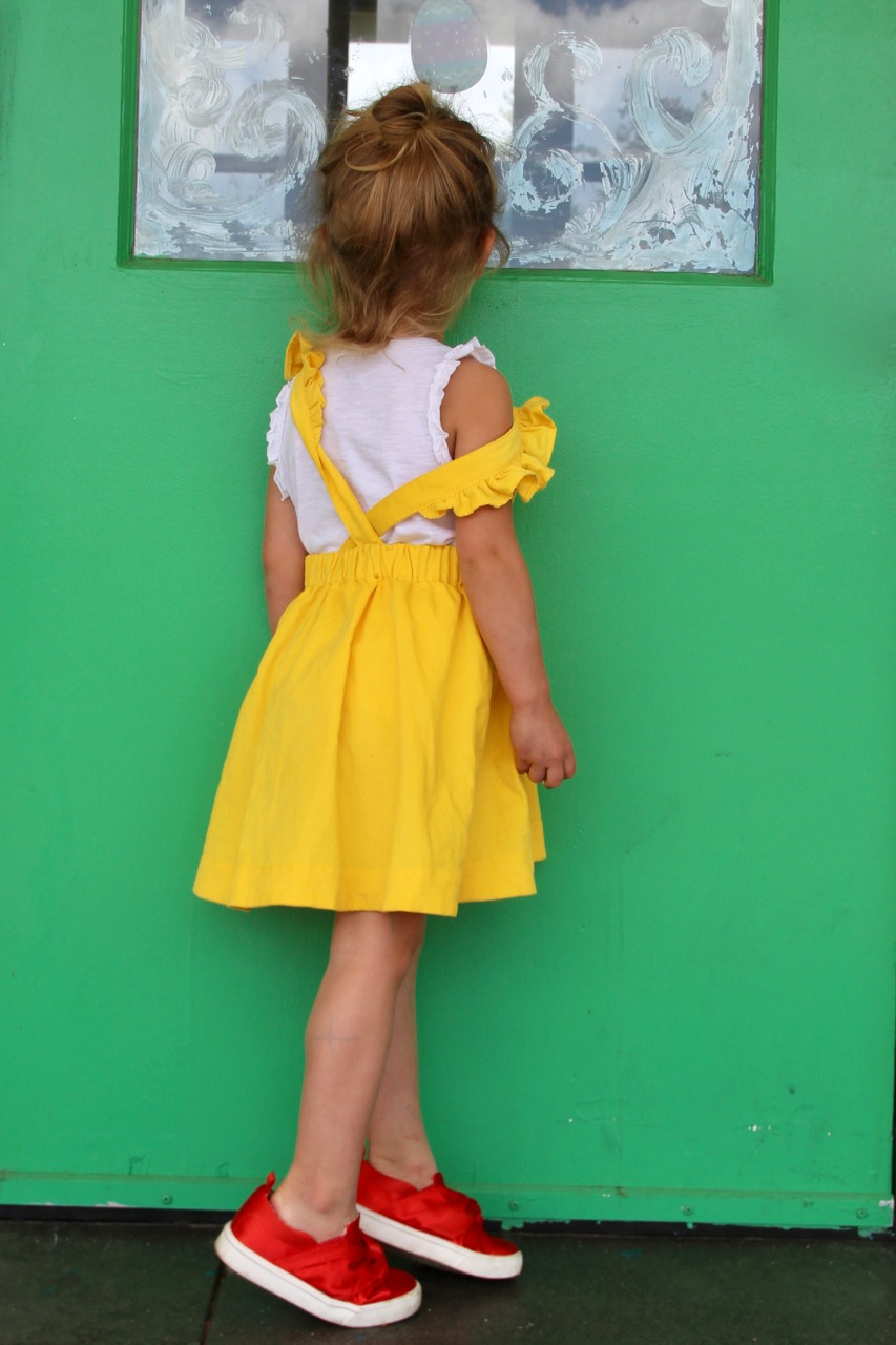 dapper crown yellow corduroy pinafore for little girl