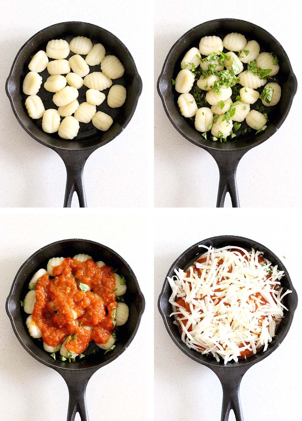 four ingredient gnocchi with marinara sauce and fresh basil