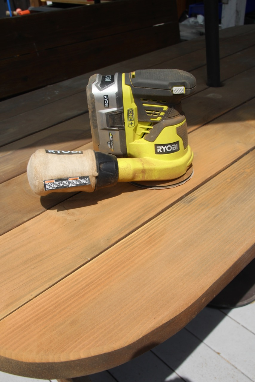 how to sand outdoor furniture with a power sander