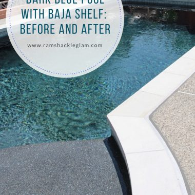 dark blue pool with Baja shelf and pebbletec