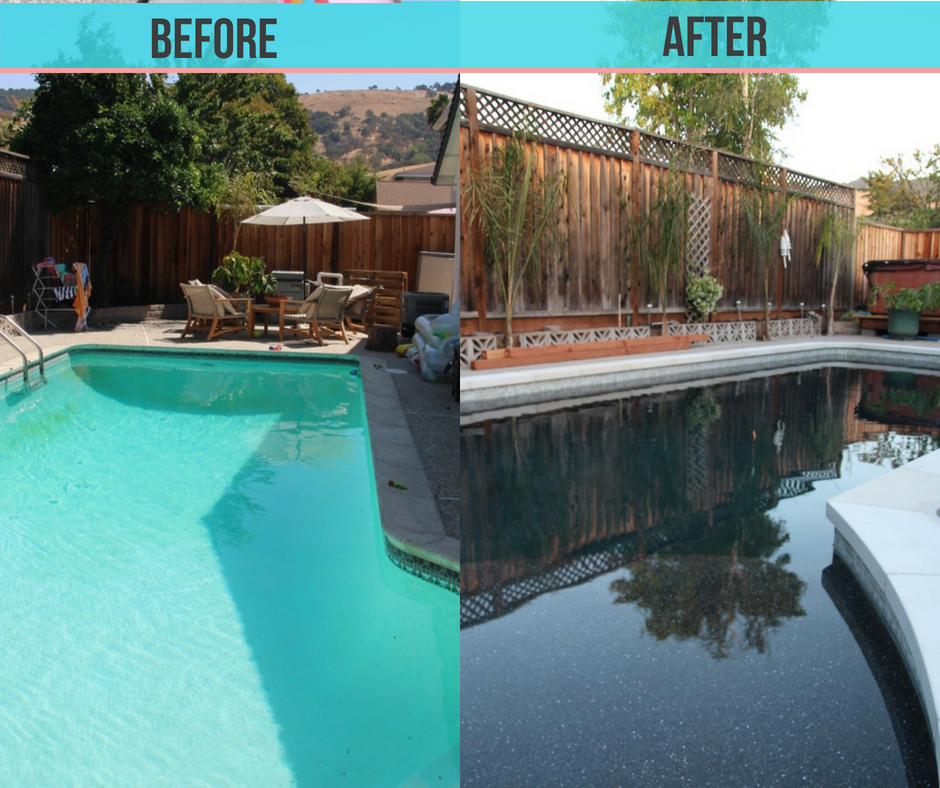 before and after pool renovation with Baja shelf