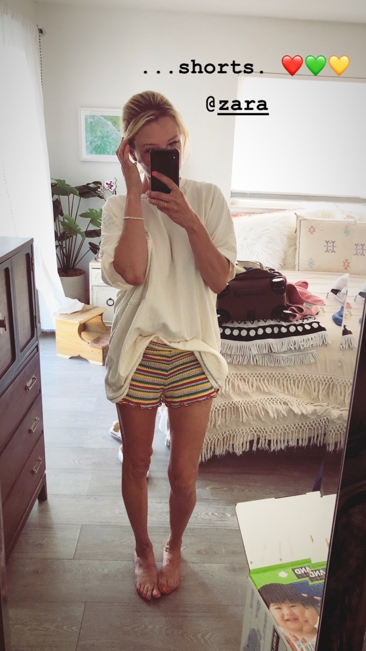 zara knit striped shorts