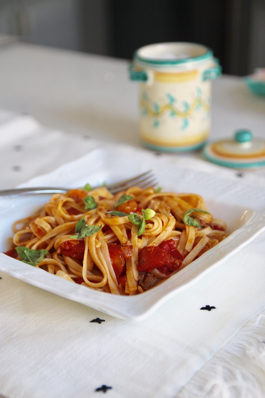 easy bolognese pasta with celery and carrots