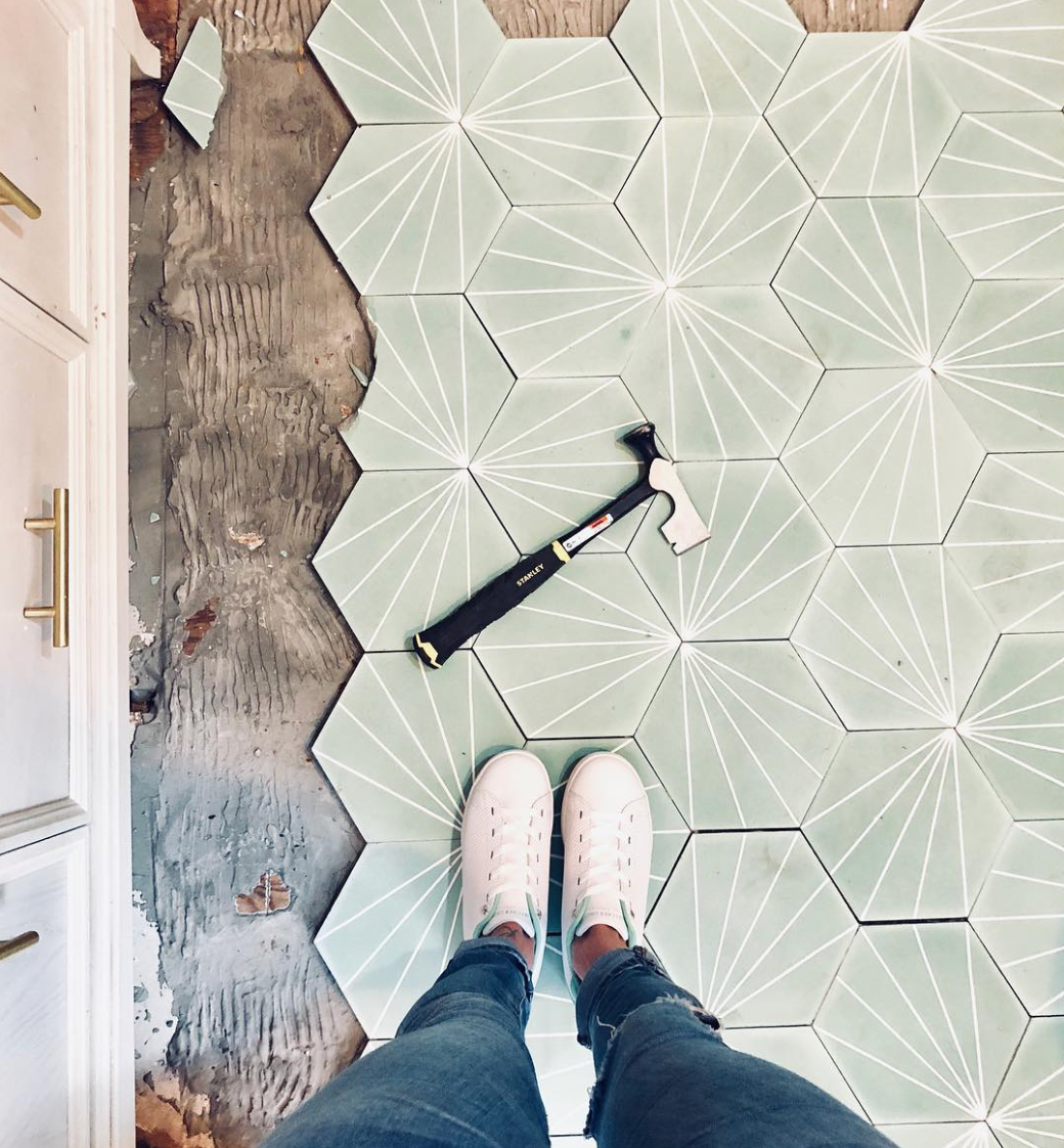 mint green hex starburst tile