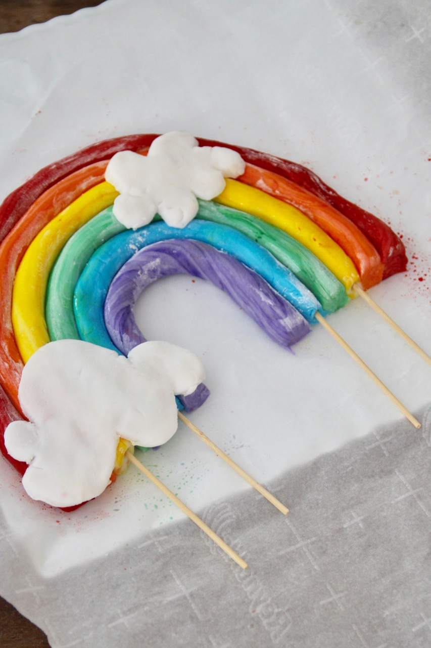 how to make a rainbow cake topper with fondant