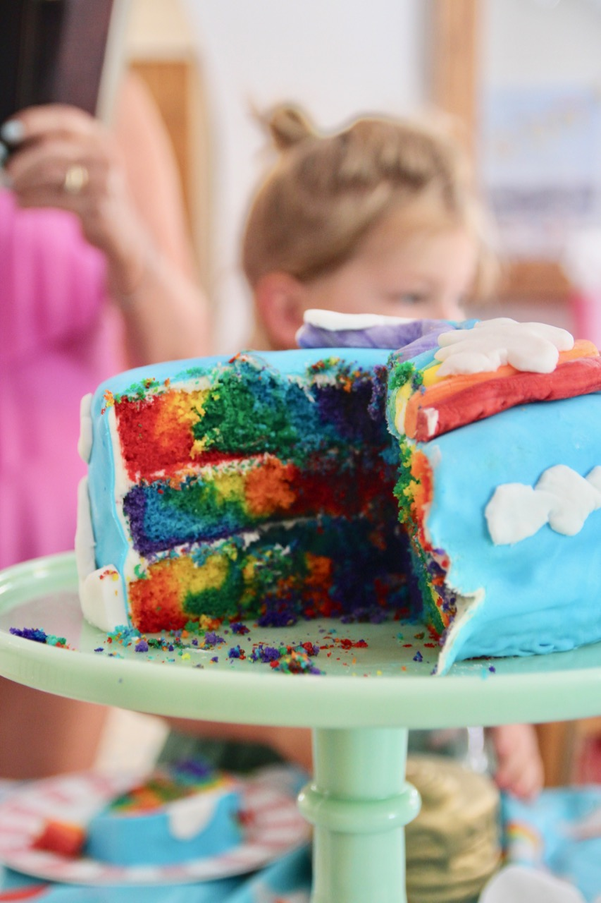 how to make a rainbow birthday cake with fondant
